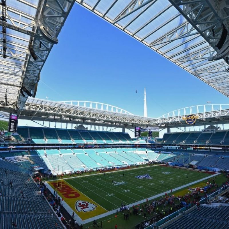 The Hard Rock Stadium is seen before the start of the Super Bowl LIV between the San Francisco 49ers and the Kansas City Chiefs in Miami, Florida on February 2, 2020. (Photo by Angela Weiss / AFP) (Photo by ANGELA WEISS/AFP via Getty Images)